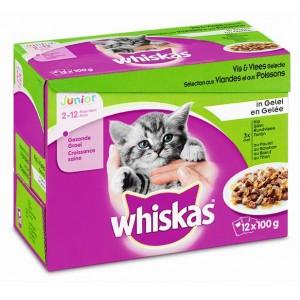 Whiskas portionsposer Junior kattefoder i gele