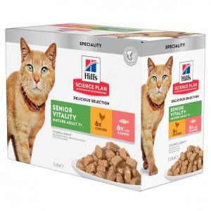 Hill's Mature Adult Senior Vitality våd kattefoder combipack 12x85g